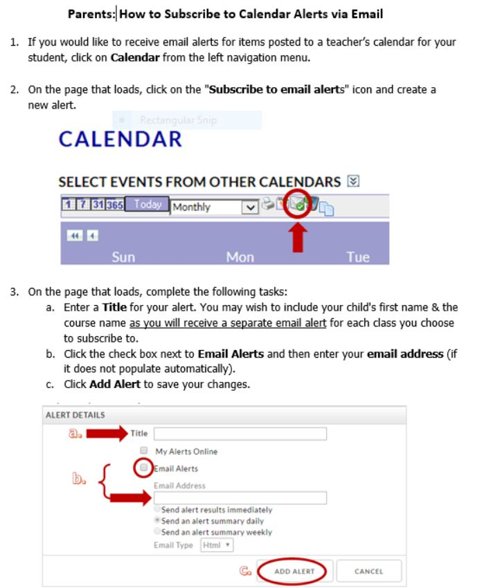 Instructions for subscring to the class calender